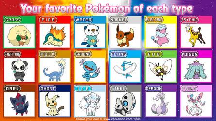 My Favorite Pokemon Of Each Type by DreamNotePrincess