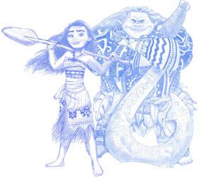 Moana and Maui by LisaGunnIllustration