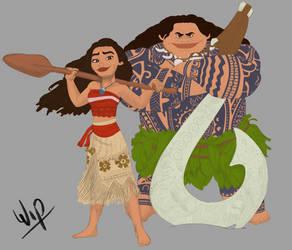 Moana and Maui Colour Work in Progress by LisaGunnIllustration