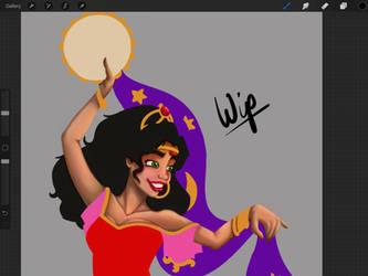 Esmeralda Work In Progress by LisaGunnIllustration