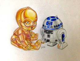 Babies C3PO and R2D2 by Essencia-de-Ambar