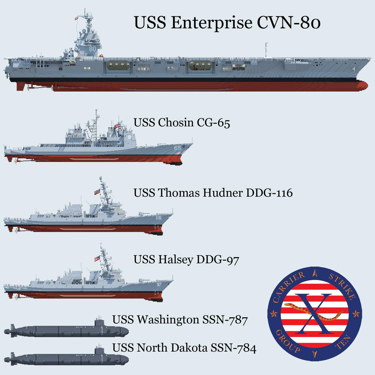 U.S.S. Enterprise CVN-80 Strike Group [1.5:1 Scale] Minecraft Map