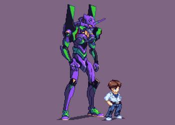 Eva Unit-01 and Sinji by Mamoruhik