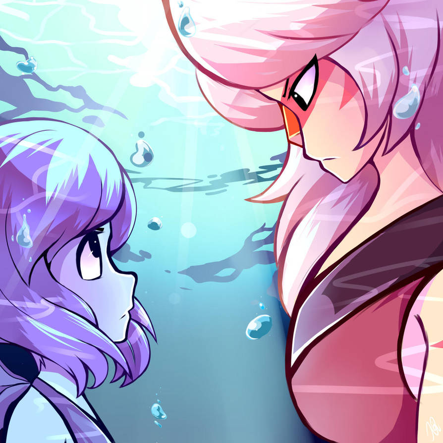 Two of my friends acting all nerdy over this ship made me draw this.  This is my first time coloring the underwater ocean ^ ^ Art by Characters by Rebecca Sugar