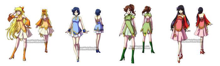 Kinmoku Fashion - Inner Senshi by YoukaiYume