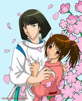 Spirited Away-Haku and Chihiro by YoukaiYume