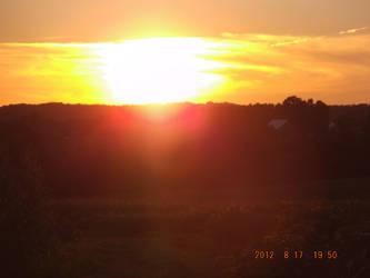 farm sunset by firepiro