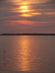 lake sunset by firepiro