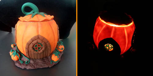 Pumpking house candleholder day and night by MamanKetchup