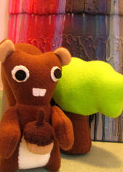 Squirrel and Tree Plushies by greenchylde