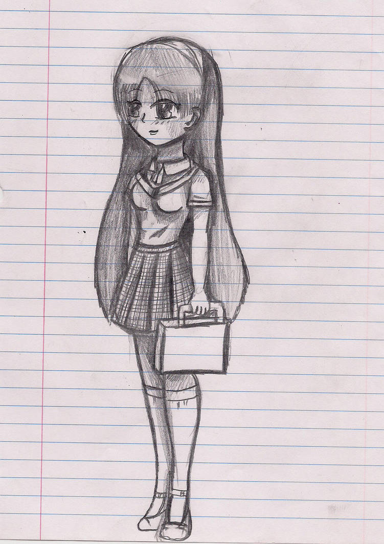 Anime sketched school girl by ninjazombie5692