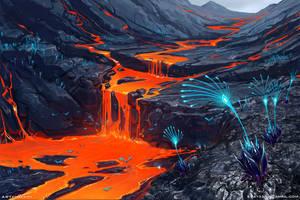 Volcanic planet by Sviatoslav-SciFi