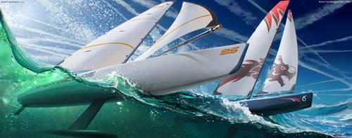 Sail boat racing by Sviatoslav-SciFi