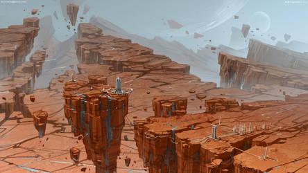 Planet of flying rocks by Sviatoslav-SciFi