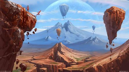 Valley of flying rocks by Sviatoslav-SciFi