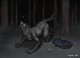 A werewolf Transforming by raptonx