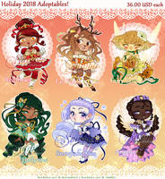 Adopts - Holiday Magical Girls 2018 [SOLD] by Beedalee-Art