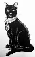 Drawlloween 28: black cat by Kyohazard