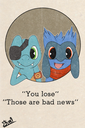 Leon Riolu and Vagus Totodile - Game Over Cuphead by Edwars1999