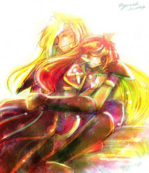 Gourry Lina hug by EugeneCh