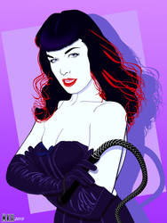Bettie Page done in the style of Patrick Nagel by Hollinger