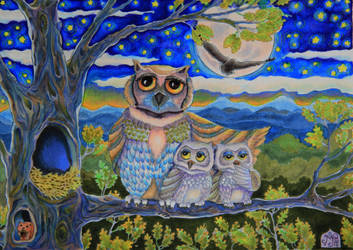 Little owls family by Astera-T