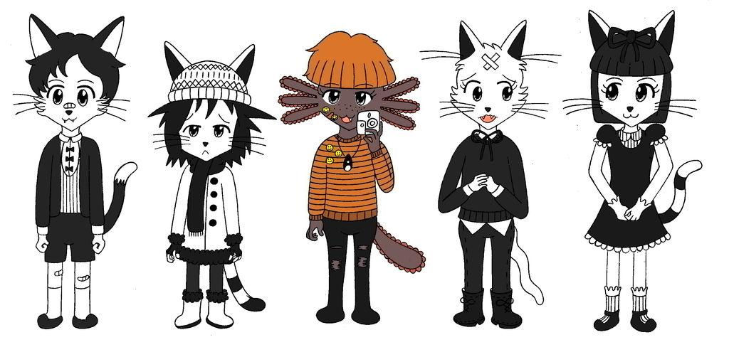 Sticks, Boy, Iggy, Scaredycat y Cat by limaneko