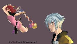Kingdom Hearts Doodles: Riku and Kairi by Millie-Rose13
