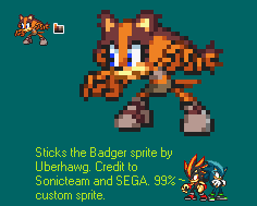 Sticks the Badger Sprite by UberHawg