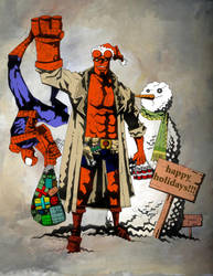hellboy-spidey holidayart swap by mytymark