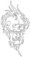 Tribal Skull Outline 08 by vikingtattoo