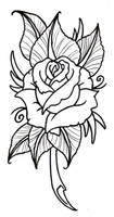 Neo Traditional Rose Outline by vikingtattoo