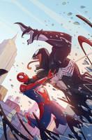Spider-man vs Venom by mikabear1