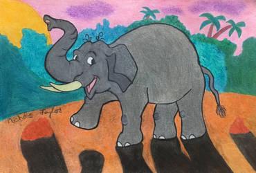 An Elephant Against Sunrise by ntaylor24