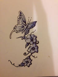 Butterflies and flowers - biro by NickMorey