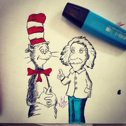 Cat in the Hat chats with Einstein by NickMorey