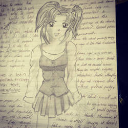 Old lecture notes- anime girl by NickMorey