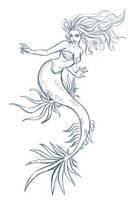 Mermaid sketch by iara-art