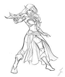 Commission: Elf Woman sketch by iara-art