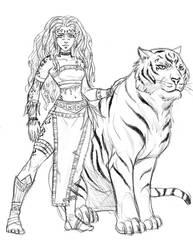 Kaori and Koraha sketch by iara-art