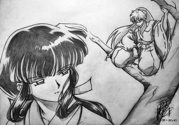 Kikyo And Inuyasha by WishOfBlood