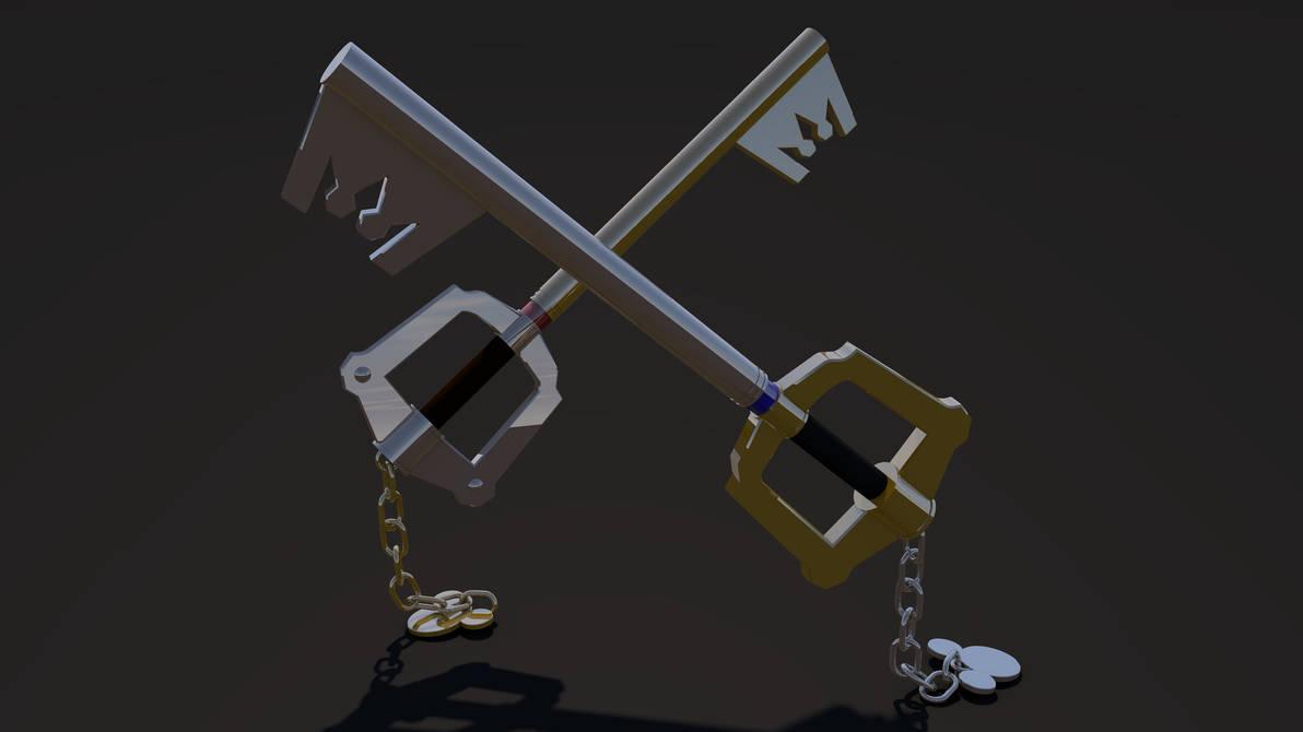 Keyblade 3D Render - Mickey and Sora's Keyblades 1 by HaakonHawk