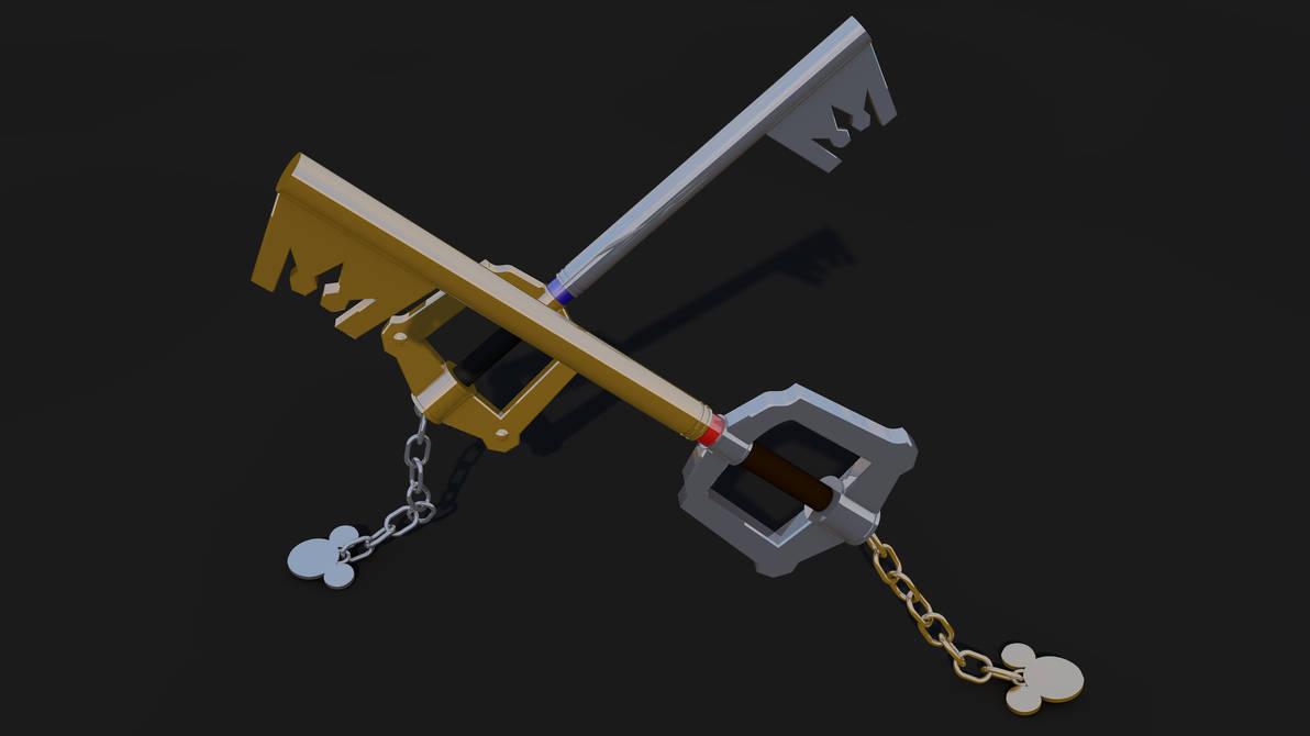 Keyblade 3D Render - Mickey and Sora's Keyblades 2 by HaakonHawk