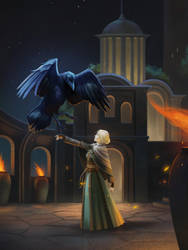 Fire Keeper and the Crow by beagler9
