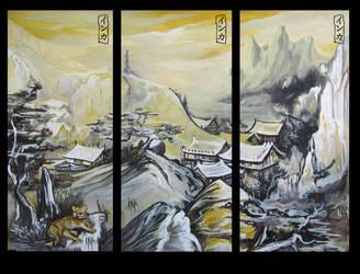 Asian Landscape x3 by Tsabo6