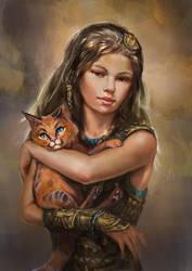 Girl with kitten by Tsabo6