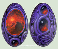 Ornamental surreal painting on goose egg by Acrylicdreams