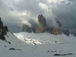 Tre Cime di Lavaredo (Drei Zinnen) in clouds by Acrylicdreams