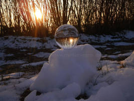 Crystaline sphere on snow pile by Acrylicdreams
