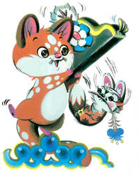 Lotsa Spots and Flower Fox by Pocketowl